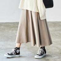 leather flare skirt[2654M]